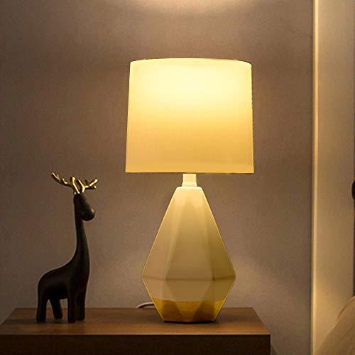 SEVETILKA White Ceramic Irregular Geometric Bedside Table Luminaire Lamp Nightstand Desk Lamp for Living Room Bedroom,Cream White Fabric Lamp Shade,E27 Bulb Holder Fitting Table Lamp ZWL025W-G-SEV