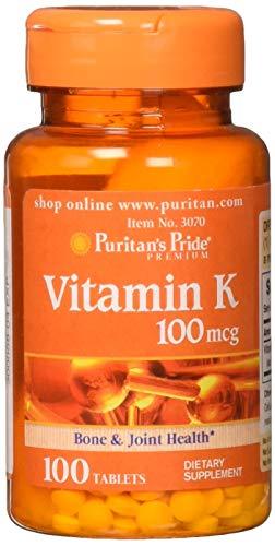 Puritans Pride Vitamin K 100 mcg Tablets, 100 Count