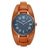 Fossil Eleanor - Cassa ibrida per smartwatch in acciaio inossidabile e cinturino in pelle marrone...