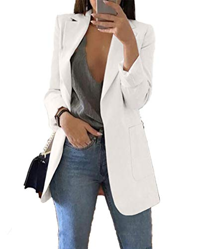 Andongnywell Women's Solid Long Sleeve Slim Suit Jacket Open Front Blazer Fit Work Office Cardigan Coat (White,X-Large)