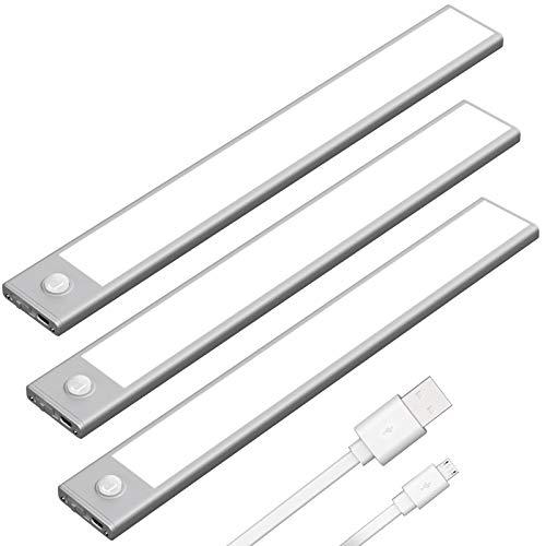 Klighten 3 Pcs Luz Armario con Sensor Movimiento 53 LED, 30CM, USB...