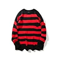 HANGJIA Black Red Striped Sweaters Men Oversized Ripped Hole Knit Pullover Autumn Winter Fashion Long Sleeve Clothing