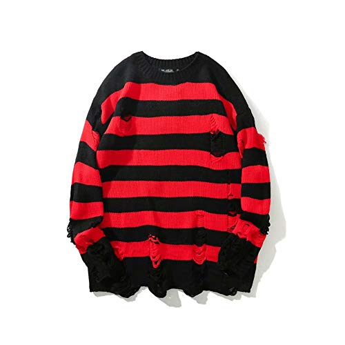 HANGJIA Black Red Striped Sweaters Men Oversized Ripped Hole Knit Pullover Autumn Winter Fashion Long Sleeve Clothing-R-L