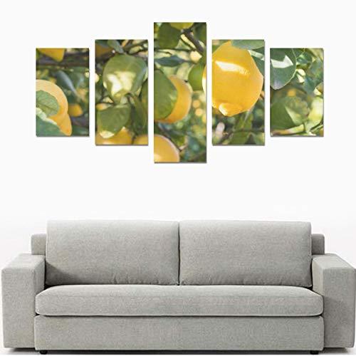 Gelbe Zitronen Auf Zitronenbaum (ohne Rahmen) Leinwanddruck Sets Wandkunst Bild 5 Stücke Gemälde Poster Drucke Foto Bild Auf Leinwand Fertig Zum Aufhängen Für Wohnzimmer Schlafzimmer Home Office Wand