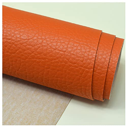 NIANTONG Lychee Texture Tela de Piel sintética por Metro 138x100cm, Tela de Polipiel Vinilo Impermeable para Sofá, Muebles tapicería, Manualidades y Asientos(Color:Naranja)