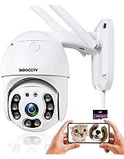 Automatisk spårning WiFi IP-kamera panna lutning säkerhetskamera, 1080 P kupol övervakningskamera, tvåvägs ljud rörelsedetektion tydlig nattvision IP66 utomhus vattentät med 32 G SD-minneskort ICSee-app