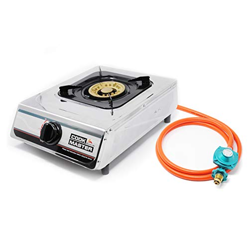 Cook master Single Propane Burner Stove with Auto-ignition, Hose & Regulator, Perfect for Camping and Outdoor Cooking (Regular)