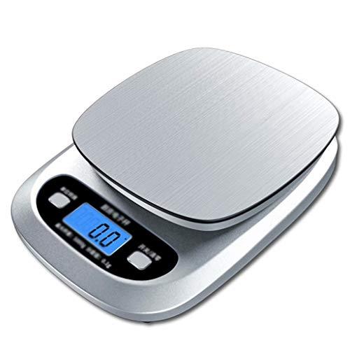 YLJJ Básculas de Cocina, Báscula Digital para Alimentos con Pantalla LCD con función de Tara, Báscula portátil para Hornear en casa, Blanco (10 kg / 1g), 21cmX15cmX3cm