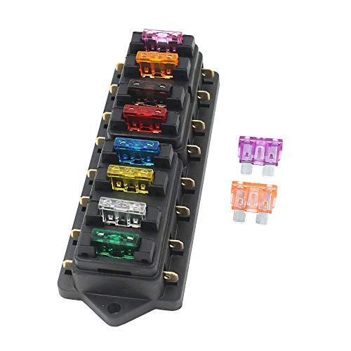 Gebildet 8-Fach Sicherungshalter, Auto KFZ Standard Bsicherungsdose (Für 1~40 AMP), mit 10 Frei Sicherung (3A/5A/7.5A/10A/15A/20A/25A/30A/35A/40A), Wasserdicht Sicherungsträger