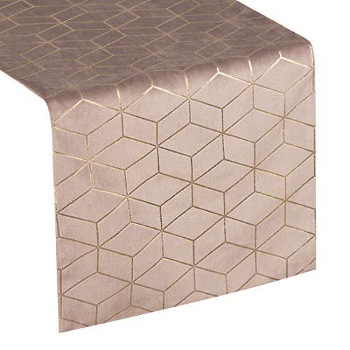 Eurofirany tafelkleed, tafelloper, fluweel, geometrisch patroon, tafeldecoratie, tafelkleed, tafelkleed, fluweel, elegant, 1 stuks, poeder, 35 x 140 cm