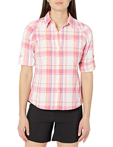 Columbia Sportswear Womens Silver Ridge Plaid Long Sleeve Shirt, Tropic Pink Dobby Plaid, Small
