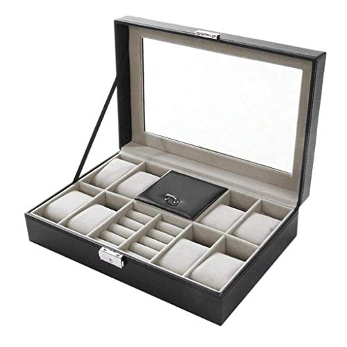 KUANDARGG Auténtico cristal superior, caja porta relojes con cremallera de metal, cajón grande, piel sintética negra – Caja para relojes de hombre con 8 ranuras