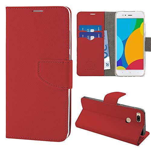 N NEWTOP Cover Compatibile per Xiaomi Mi A1, HQ Lateral Custodia Libro Flip Chiusura Magnetica Portafoglio Simil Pelle Stand (Rossa)