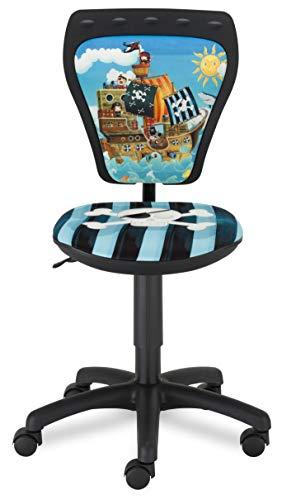 NOWY STYL MINISTYLE Silla giratoria Infantil para Escritorio, diseño Juvenil, poliéster, Negro, 55 x 55 x 97.5 cm