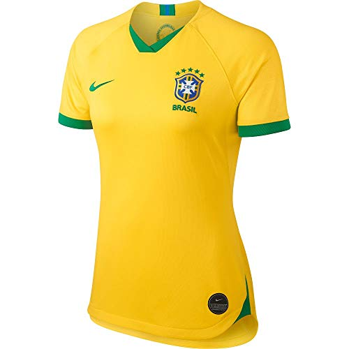 Nike 2019-2020 Brazil Home Womens Football Soccer T-Shirt Jersey