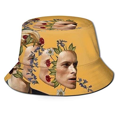 Da-Vid Bo-Wie Sombrero de cubo, suave gorra de sol creativa graffiti plegable sombrero de pescador adecuado para viajes al aire libre pesca negro