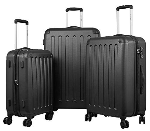 TRAVELWOLF Reisekoffer Gepäckset mit 3 Hartschalen-Koffer, Trolley mit TSA-Schloß, Zwillingsrollen, Größen M-L-XL