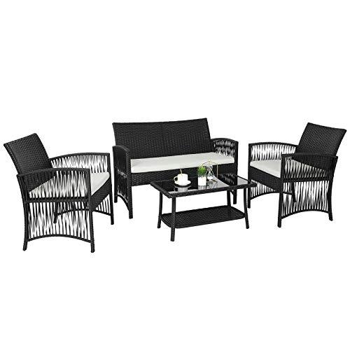 GARTIO Conjunto de Muebles de Jardín, Conjunto de Muebles de Ratán PE, con Mesa de Vidrio, 1 Sofá de Dos Plazas y 2 Sillones, con Cojines, para Jardín, Terraza y Balcón,Negro