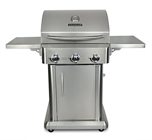 Chef's Grill RT2417S-1 3-Burner 36000-BTU Liquid-Propane Gas Grill, Stainless Steel, 552 sq. in.  a Eligible Features for garden Grills Home Kitchen lawn Monthly patio Payments Products Propane Service with