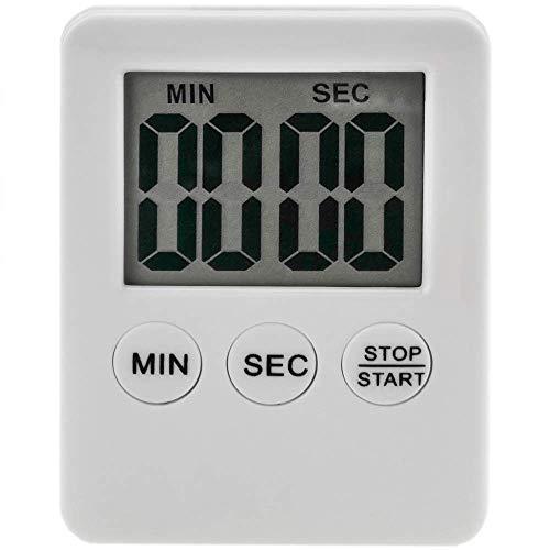 PrimeMatik - Temporizador de Cocina magnético. Control de Tiempo Digital de Color Blanco