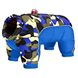 Beirui Padded Winter Puppy Dog Clothes for Small Girl Boy Dogs,Waterproof Pet Puppy Snowsuit Coat,Warm Dog Snow Jacket Clothes for Chihuahua French Bulldog (Blue Camo,Chest 19.5'')