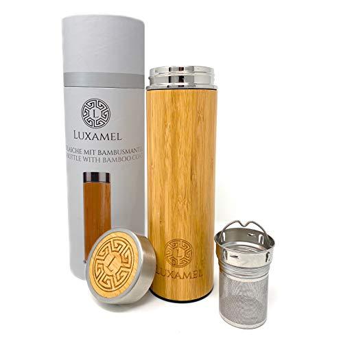 Luxamel Teeflasche mit Teesieb Bambusmantel 480ml 2-Go Doppelwandig mit Edelstahl Einsatz 100% BPA Free