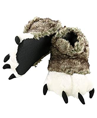 Lazy One Animal Paw Slippers for Adults and Kids, Cozy, Soft, Fun, Costume (Wolf, Large)