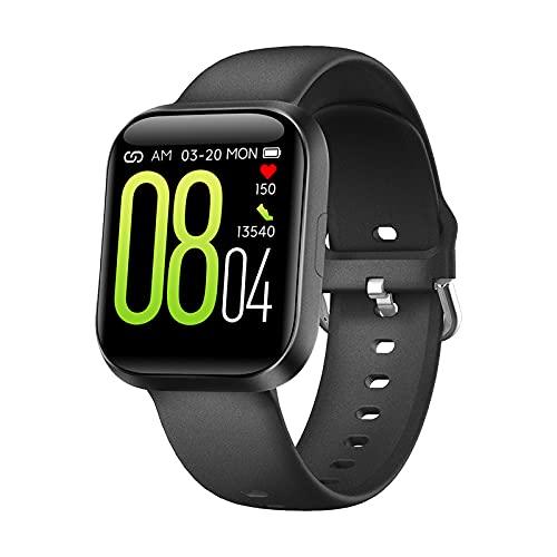 MicLee Reloj inteligente para mujer y hombre, pulsera de actividad Bluetooth, resistente al agua, IP68, ajustes multilingües, carga magnética, reloj deportivo, pulsera de silicona negra