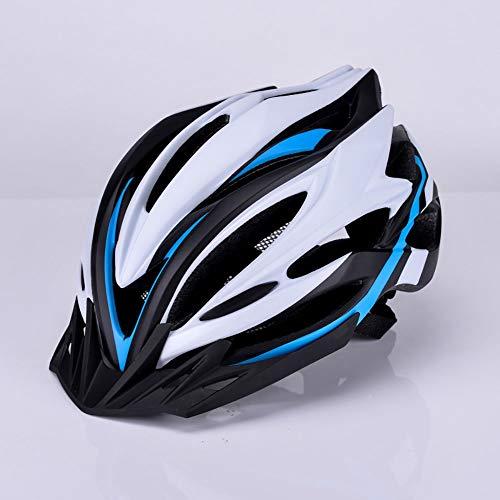 Waniyin Casco de Bicicleta Iluminado Casco de equitación Bicicleta de montaña Casco de Bicicleta Hombres y Mujeres Casco Equipo de equitación Casco Transpirable (Color : Blue)