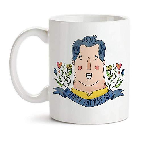 Taza de la acuarela día de padre, el día de padre feliz, regalo del hijo o hija, 11 oz de café de cerámica de la novedad taza de la taza / té, taza del regalo