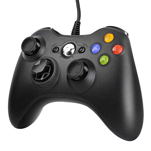 JAMSWALL Manette Xbox 360 - Manette PC Joystick pour Xbox 360 et Windows 7/8/10 Connection USB - Design Ergonomique - Manette du de Jeu Filaire avec Double Vibration Pour PC Xbox 360 Windows