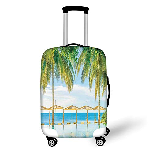 Travel Luggage Cover Suitcase Protector,House Decor,Exotic Beach with The Pool Nature with Soft Light Sun Rays Fantastic Holiday Theme,Green Blue,for TravelL 25.9x37.8Inch