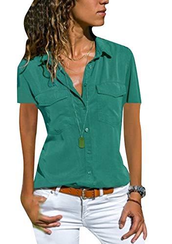 EFOFEI Damen Plus Size Shirt Kurzarmbluse Für Damen Fronttaschenbluse Grün 2XL