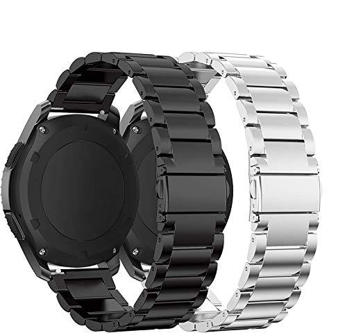 YSSNH Compatible para Correa Samsung Watch 46mm Correa de Acero Inoxidable de 22mm y Correa de Repuesto de Cuero para Galaxy Watch 46mm / Gear S3 Classic/Gear S3 Frontier