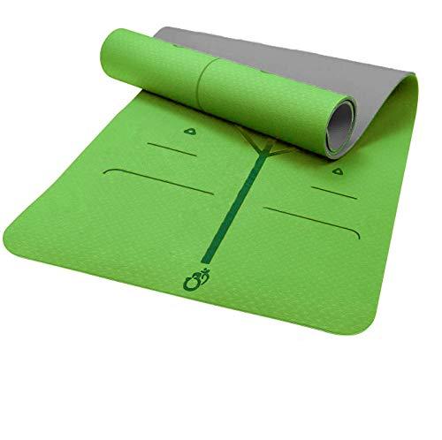 Sosila Yogamatte, TPE, ECO Gymnastik Matte, Übungsmatten, rutschfest, umweltfreundlich, hypoallergen und hautfreundlich, ideal für Yoga, Pilates&Fitness, mit Tasche und Trageband (Grün-Grau)