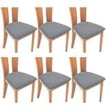 TIANSHU Funda Asiento Silla,Fundas elásticas para Asientos de sillas de Comedor y Oficina Jacquard Poliéster Elástica Fundas sillas Duradera(Paquete de 6,Gris Claro)