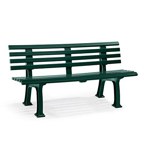 Parkbank aus Kunststoff - mit 9 Leisten - Breite 1500 mm, moosgrün - Sitzbank Gartenbank Ruhebank Bank für Außenbereich UV- und witterungsbeständig PVC Bank