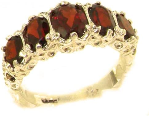 LetsBuyGold 14k Yellow Gold Real Genuine Garnet Womens Band Ring