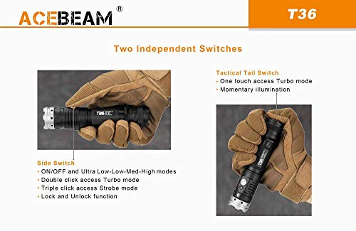 Sunwayman C22C 1000 lumen Dual-Light Night Traveler CREE LED Flashlight with Neutral White Side Light 2 x EdisonBright CR123A battery bundle