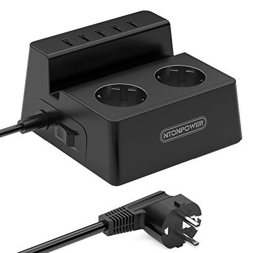 Mehrfachsteckdose mit USB 5-Anschluss und Schalter, NTONPOWER 2-fach Tisch Steckdosenleiste Blitzschutz Kabel 1,5m Telefonhalter- Schwarz, MEHRWEG