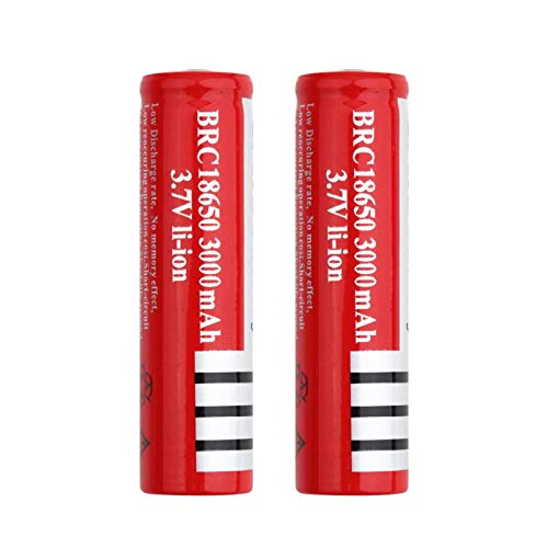 WSXYD Red BRC 18650 3.7V 3000mAh Baterías Recargables Superiores Puntiagudas, batería de Litio para Cargar la celda de Iones de Litio 2pcs