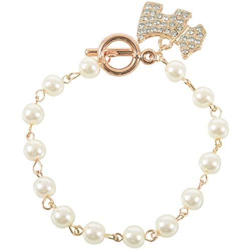 Kaxofang Pulsera Encantadora de Perlas de Imitacion con Colgante de Perro de Cristal Cadena de Pulsera, Oro y Blanco