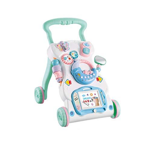 LHTY Baby Walker, Multifonctionnel Anti-Rollover Music Walker bébé Jouet éducatif pour l'éducation précoce des Enfants 0-2 Ans Chariot pour Tout-Petits,Bleu