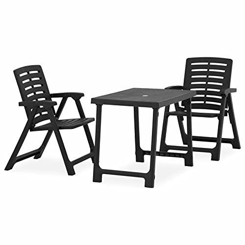 Festnight Conjunto de Balcón Juego de 1 Mesa y 2 sillas Plegables 81 x 56 x 63 cm Terraza Jardín