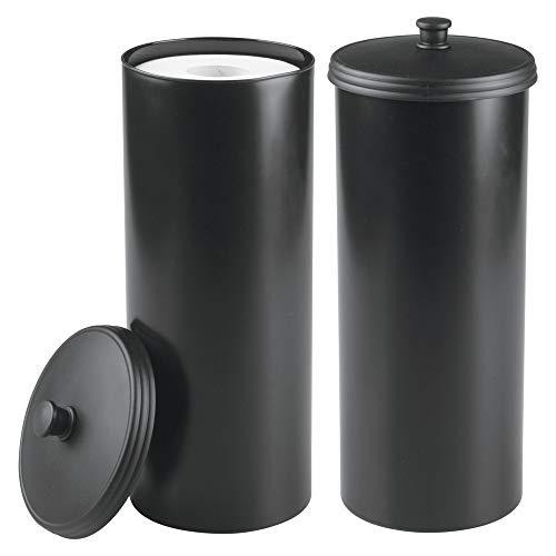 mDesign 2er-Set Toilettenpapierhalter – Klorollenhalter fürs Badezimmer – Papierrollenhalter freistehend – schwarz