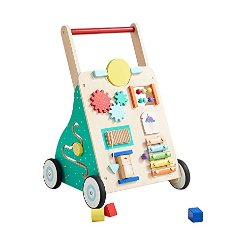 Asweets Wooden Baby Walker Push and Pull Learning Activity Walker for Boys and Girls Sit to Stand Learning Walker Toddler Toy (V1)
