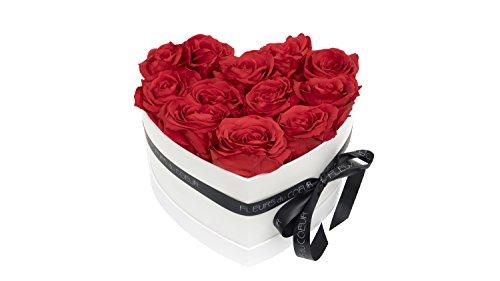 FLEURS du COEUR Infinity Blumen - weiße Rosenbox Mon Coeur in Herzform mit roten Rosen