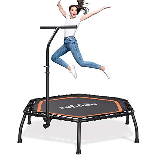 """Zupapa 45"""" Rebounder Silent Mini Fitness Trampoline with Adjustable Handrail Bar – Indoor Rebounder for Adults – Best Urban Cardio Jump Fitness Workout Trainer – Max Limit 330 lbs, Hexagon"""