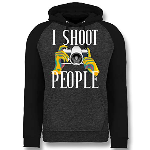 Shirtracer Fotografen - I Shoot People - bunt - weiß - L - Anthrazit meliert/Schwarz - Spruch - JH009 - Baseball Hoodie