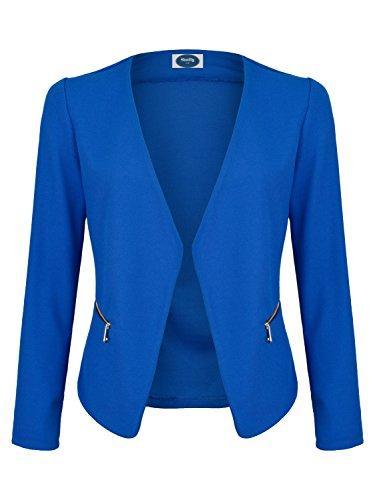 4tuality AO Blazer kragenlos mit Zipper royal blau Gr. M